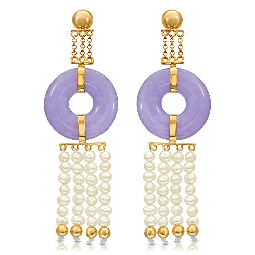- Regalia By UIti Ramos 14K Yellow Gold Genuine Jade in Lavender Color and Cultured Freshwater Pearl Earrings