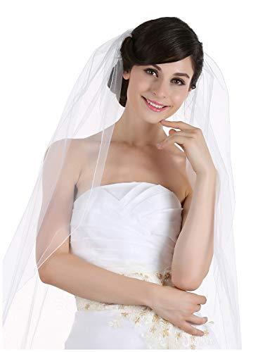 1T 1 Tier Pencil Edge Bridal Wedding Veil - Ivory Chapel Length 90