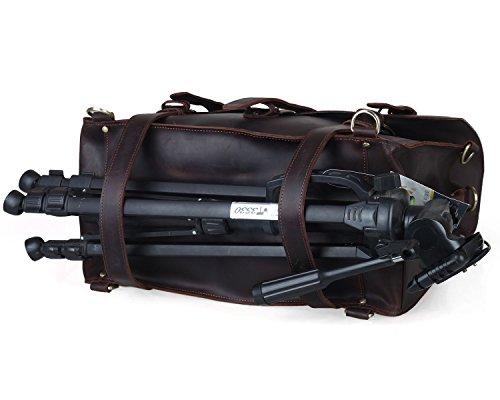 BAIGIO Vintage Leather Luggage Backpack Briefcase Travel Carryon Shoulder Bag (Dark Brown) by BAIGIO (Image #4)