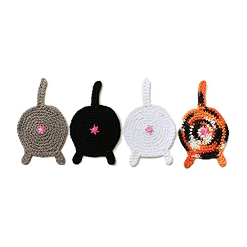 - Handmade crochet cat butt coasters by Geekirumi! - Cotton yarn drink mats - Calico, black, gray and white (set of 4)
