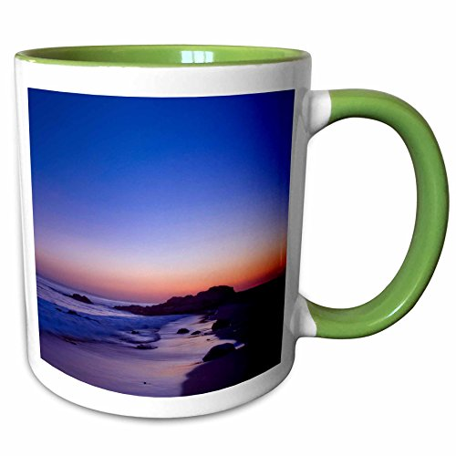 3dRose Boehm Graphics Travel - Reef point at Twilight in Crystal Cove State Park - 15oz Two-Tone Green Mug (mug_282398_12)