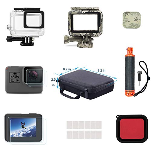 Lowpter Accessory Set for GoPro Hero7 Black/6/5,Including Waterproof housing case,Waterproof Floating Hand Grip, Carrying Case, Red Filter,Lens Cover,Camouflage Case,Anti-Fog Insert,Screen Protector.