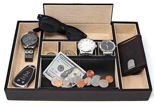 Dapper Effects Valet Tray for Men That Serves As A Nightstand Organizer (Black)