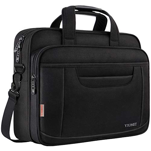 (Ytonet Laptop Briefcase,15.6 Inch Laptop Bag,Business Office Bag for Men Women,Stylish Nylon Multi-Functional Shoulder Messenger Bag for Notebook Computer Tablet MacBook Acer HP Dell Lenovo,Black Grey)