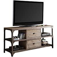 ACME Furniture Acme 91504 Gorden TV Stand for Tvsup To 55, Weathered Oak & Antique Silver