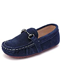 UBELLA Boys Suede Leather Slip-On Loafers Flat Boat Dress Shoes (Toddler/Little Kid)