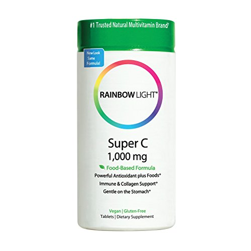 Rainbow Light Super C 1,000 mg Food based, High Potency, Vegan Vitamin C Supplement, Supports Immune Health and Provides Antioxidant Protection 120 Tablets