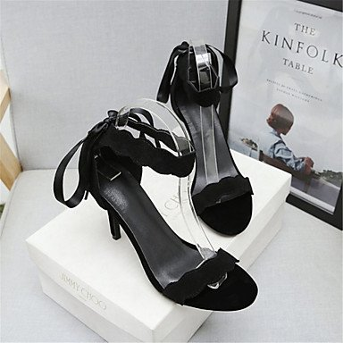 LvYuan Tacón Stiletto-Innovador Zapatos del club Confort-Sandalias-Boda Vestido Informal-Purpurina Semicuero Vellón-Negro Rosa Black