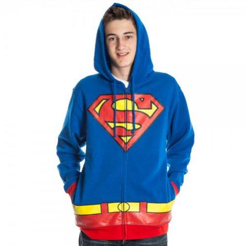 Adult Superman Costumes Hoodie (Bioworld Superman Men's Costume Hoody Hooded Sweatshirt, Royal Blue, Large)