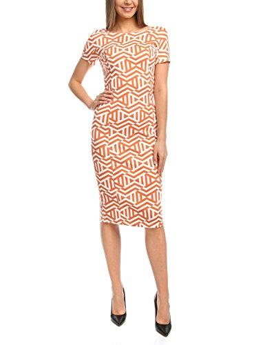 5912g Orange avec Imprim Femme Maille Ultra Robe Graphique oodji xwq8B4O0x