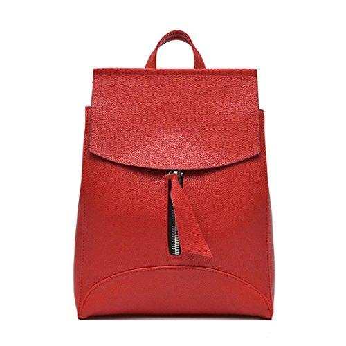 Mochila Mujer Bolso de viaje Bolsa de hombro Bolsa para la escuela LMMVP (25cm*10cm*32cm, Rojo) Rojo
