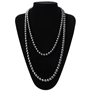 Flapper Girl Great Gatsby Faux Pearls Flapper Beads Cluster Long 1920s Necklace 59'' (Grey)