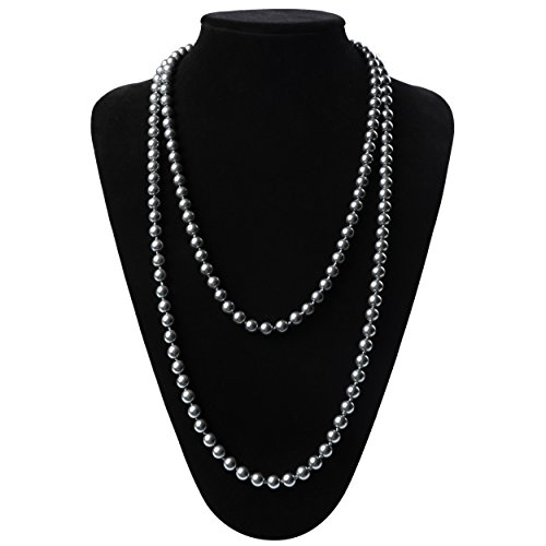 Grey Faux Pearl Necklace - 2