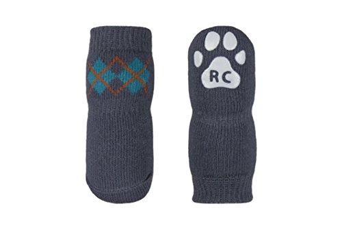 RC Pet Products Pawks Dog Socks Paw Protection, Large, Slate Argyle