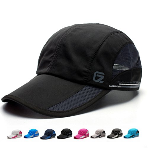 GADIEMKENSD Quick Dry Sports Hat Lightweight Breathable Soft Outdoor Run Cap (Classic upgrade, Black) (Classic Lightweight Cap)