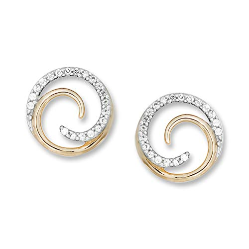 Diamond Accent Swirl Stud Earrings in 14K Yellow Gold