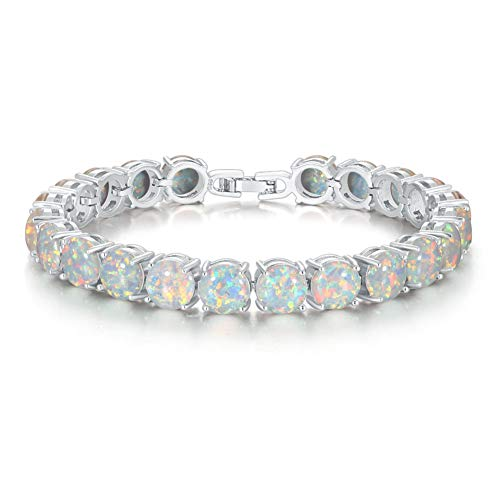 CiNily Rhodium Plated Created White Fire Opal Women Jewelry Gemstone Round Bracelet 8