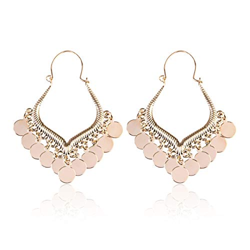 RIAH FASHION Bohemian Coin Dangle Chandelier Earrings - Lightweight Gypsy Filigree Hoops with Disc Charms (Gypsy Dangle 5 - Gold)