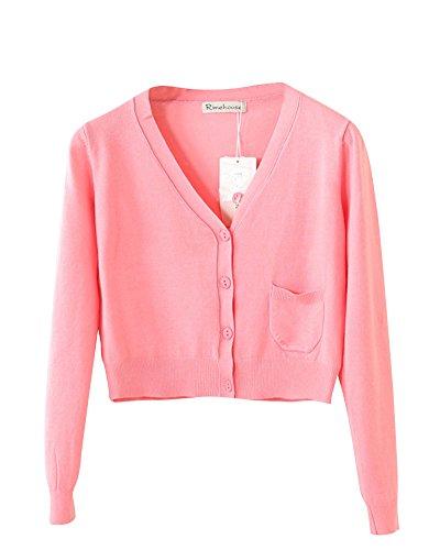 Breve Cappotto In Cardigan Con Scialle Lunga Donna collo V Manica Pink Paragrafo Maglia XR0wwPIEqn