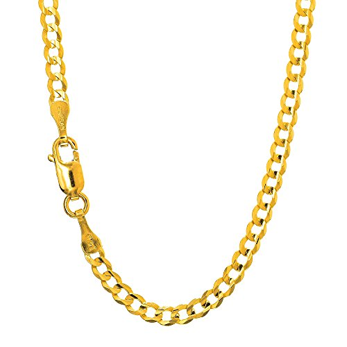 JewelStop 14k Solid Yellow Gold 2.5 mm Curb Link Anklet, Lobster Claw Clasp - 10'' by JewelStop