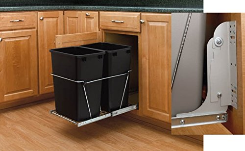 Chrome base/Black Baskets Double Bottom Mount Waste Containers With Door mounting Hardware, 15