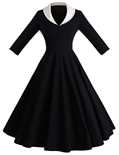 (GownTown Womens 1950s Cape Collar Vintage Swing Stretchy Dresses, Black, XX-Large)