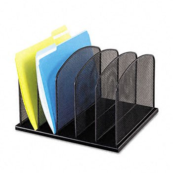 Safco® Onyx™ Mesh Desk Organizer with Upright Sections ORGANIZER,VRT,5 SEC,BK (Pack (Onyx 5 Upright Sections)