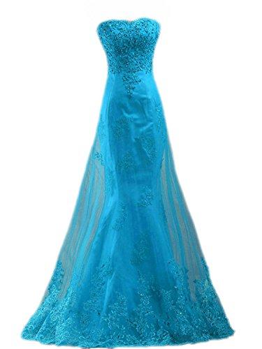 Trägerlos Lang Damen Ballkleider Meerjungfrau Hochzeitskleider Blau Spitze Abendkleider x6Ydqw5dO