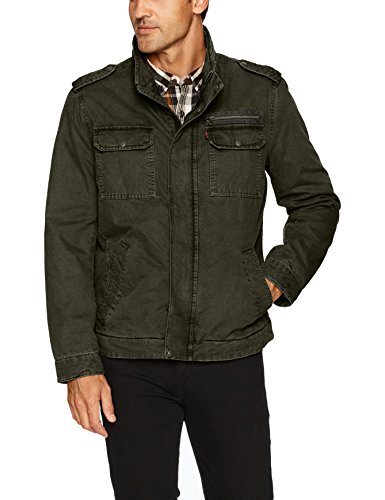 (Levi's Men's Washed Cotton Two Pocket Military Jacket, Olive, Large)