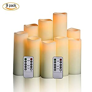 Antizer Flameless Candles Led Candles Pack of 9 (H 4″ 5″ 6″ 7″ 8″ 9″ x D 2.2″) Ivory Real Wax Battery Candles with Remote Timer