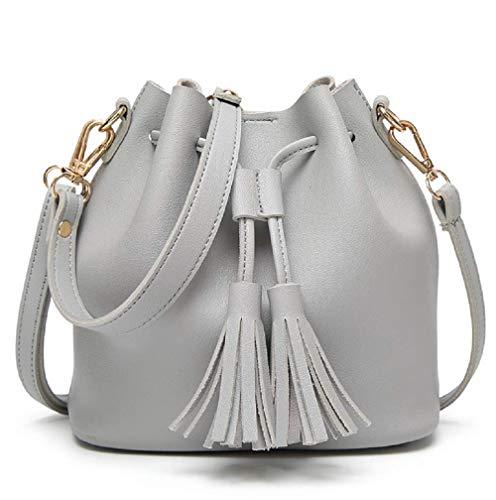 Dolce Na Womens Mini Bucket Bag Leather Drawstring Purse Tassel Crossbody Shoulder Bag, - Drawstring Large Leather