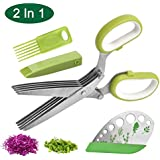 Herb Scissors and Herb Stripper of 2 in 1 Set, Stainless Leaf Herb Stripping Tool, Steel Herb Cutter with Steel Herb…