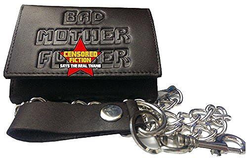 02. BMF Embossed Biker Tri-fold Wallet with Chain Dark Brown Version
