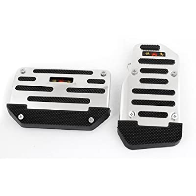 uxcell 2pcs Silver Tone Black Antislip Car Automatic Gas Brake Pedal Cover