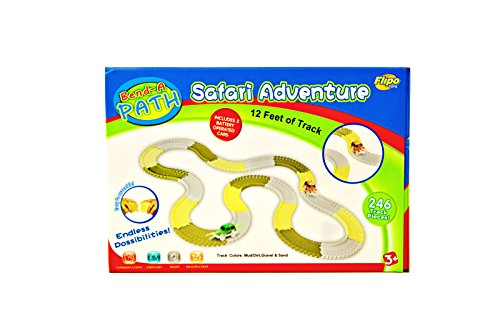 246 Piece Glow in the Dark Bend-a-Path Safari Adventure Playset for Kids, 2 Light up SUV - 12 Ft Track , & 1 - 4 Pack AA Batteries, Unisex Toys for Age 3 & Up