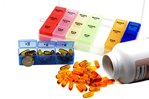 Pill Organizer Box with Snap Lids| 7-day AM/PM | Detachable Compartments for Pills, Vitamin. (Rainbow+60182) by Inspiration Industry NY (Image #5)