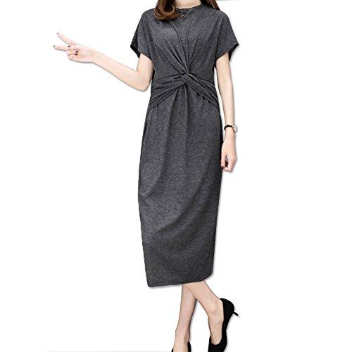WCZ Jupe en Mousseline de Soie des Femmes/Summer Beach Dress/Modal Dress/Vintage Jupe Gris fonc