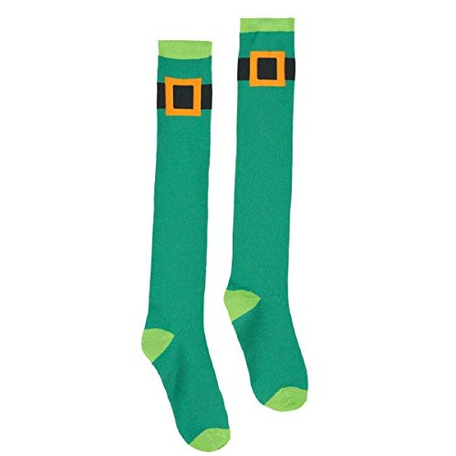 Lucky Irish Green St. Patrick's Day Leprechaun Belt Knee High Socks Party Wearables, Fabric, 23
