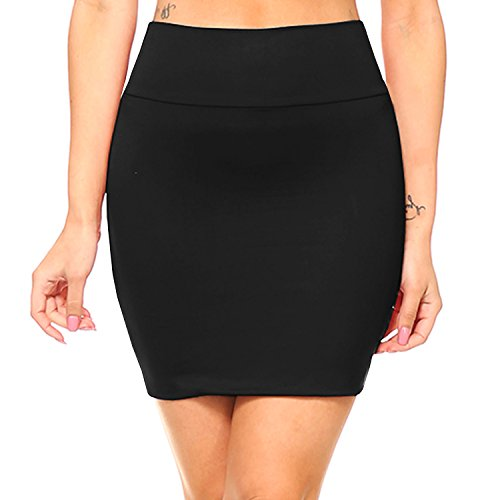 Fashionazzle Women's Casual Stretchy Bodycon Pencil Mini Skirt (X-Large, KS06-Black/Spandex) ()