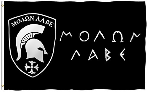 """MOLON LABE"" FLAG, ""COME and TAKE IT"" Spartan banner, 3'x5'"