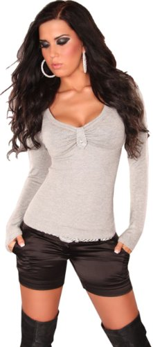 In Style–Jersey para mujer con cuello de pico y piedras, talla única (32-38) gris