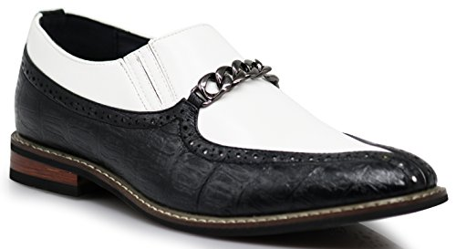 CRD3 Men's Two Tone Spade Heart Toe Chain Buckle Slip On Loafers Oxfords Perforated Dress Shoes (8.5 D(M) US, Black/White) (Black White Spectators Mens Sale)