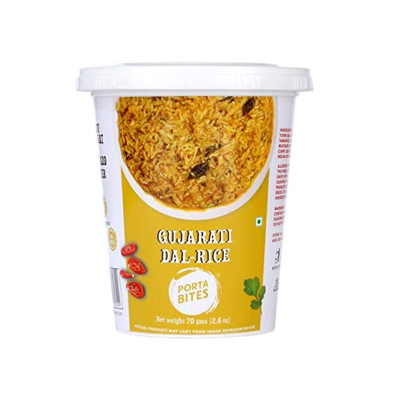 Porta Bites Instant Ready to Eat Gujarati Dal Rice, Freeze Dried, 100% Natural, No Preservatives, No Additives, No MSG