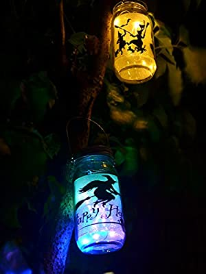 Mason Jar Lights 3 Pack Led Amber Yellow Solar Lights Screw On Silver Lids For Garden Yard Christmas Halloween Decor-Jars Not Included