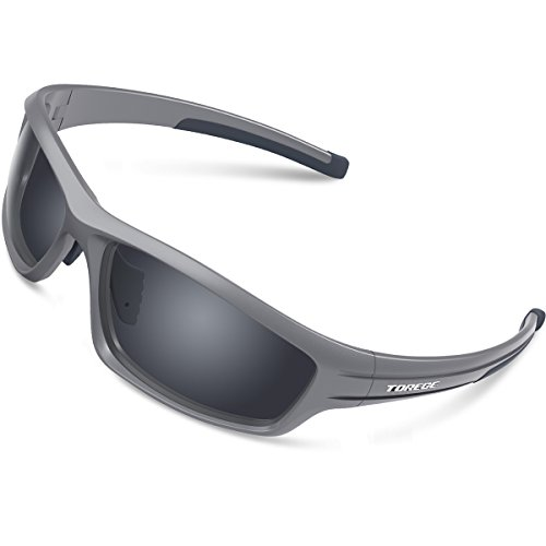 TOREGE Polarized Sports Sunglasses for Man Women Cycling Running Fishing Golf TR90 Unbreakable Frame TR034 (Gray&Black Tips&Gray Lens) ()