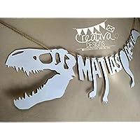 Banderín personalizado en forma de Dinosaurio, Banner de Esqueleto de Dinosaurio,
