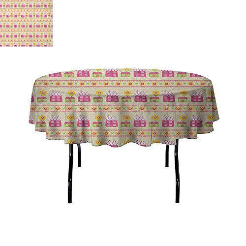 DouglasHill City Washable Tablecloth Cartoon Style Floral Stripes with Houses Pattern Abstract Blossom Design Summer Season Dinner Picnic Home Decor D59 Inch Multicolor
