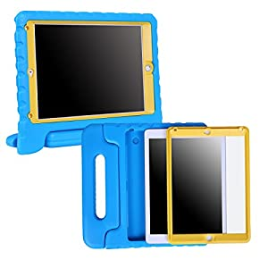 HDE iPad Air Bumper Case for Kids Shockproof Hard Cover Handle Stand with Built in Screen Protector for Apple iPad Air 1 (Blue Yellow)