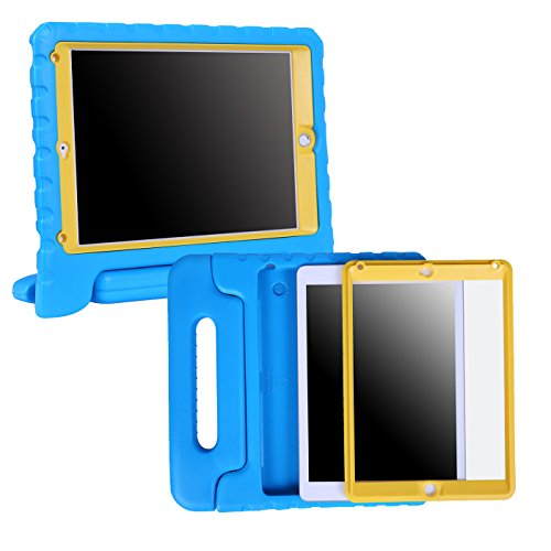 HDE Case for iPad Air - Kids Shockproof Bumper Hard Cover Handle Stand with Built in Screen Protector for Apple iPad Air 1 - 2013 Release 1st Generation (Blue Yellow)