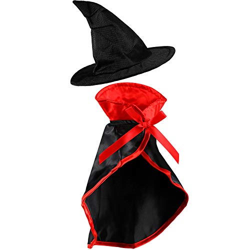 Halloween Hats For Cats (Frienda 2 Pieces Halloween Pet Costume Set, Include Pet Cape Vampire Costume Cloak and Pet Witch Hat for Cat Puppy Cosplay Party)